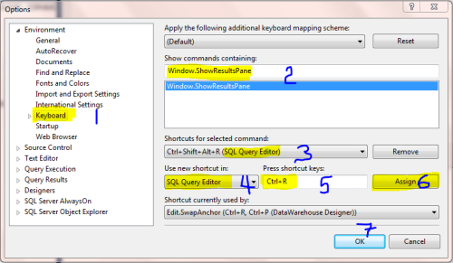 Assigning Shortcut Key Ctrl+R In SQL Server 2012